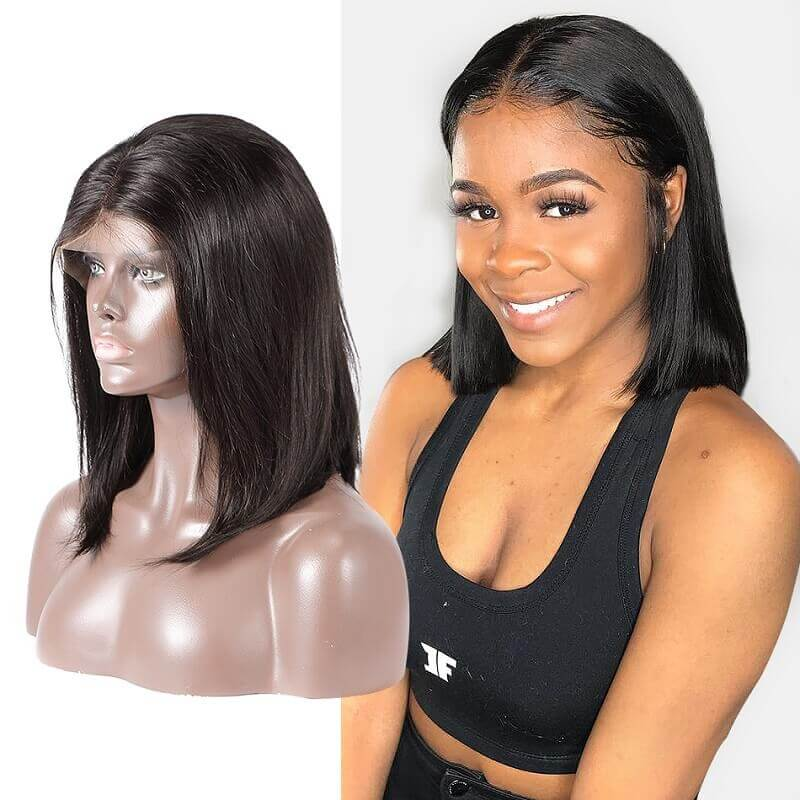 13x4 Short Bob Straight Lace Front Wig Human Hair Wig Pre Plucked With Baby Hair For Women