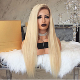 180% Density Long Straight Blonde Wig Glueless Synthetic Lace Front Wig For Women