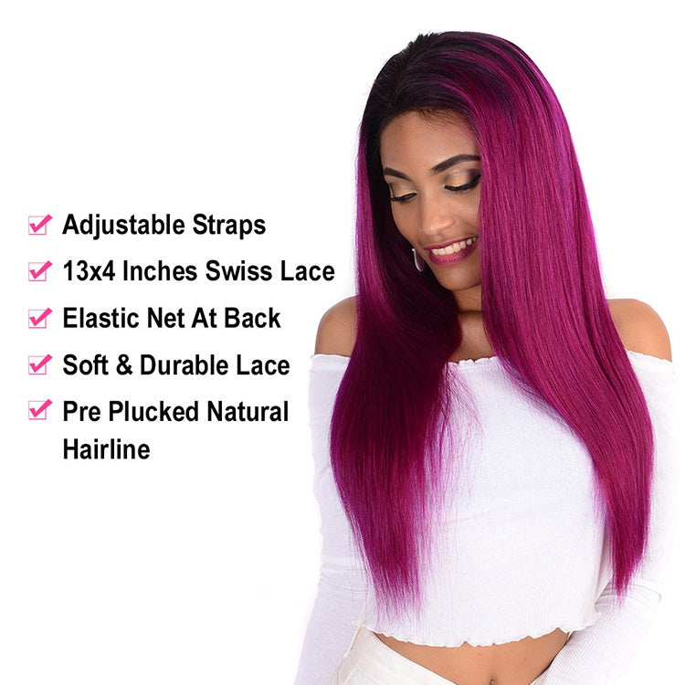[Custom Unit] 1B Purple Straight Lace Front Human Hair Wig Pre Plucked With Baby Hair Middle Part