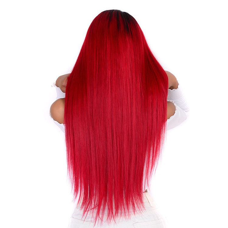 [Custom Unit] 1B Red Straight Lace Front Human Hair Wig Pre Plucked With Baby Hair Middle Part