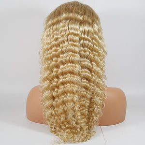 613 Blonde Deep Wave Glueless Full Lace Human Hair Wigs Bleached Knots Pre Plucked Hairline