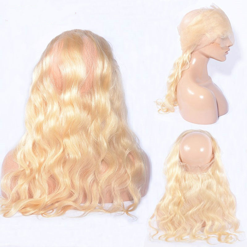 8A Virgin Body Wave 613 Blonde Pre Plucked 360 Lace Frontal Closure