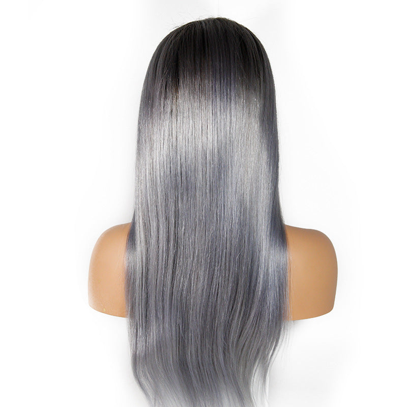 [Custom Unit] 1B/Grey Straight Human Hair Glueless Full Lace Wigs With Baby Hair