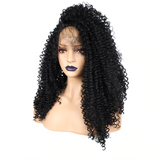 High Temperature Fiber Brazilian Full Long Kinky Curly Black Synthetic Lace Front Wig