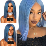 Straight Hair Short Bob Blue Wig Synthetic Lace Front Wig With Baby Hair