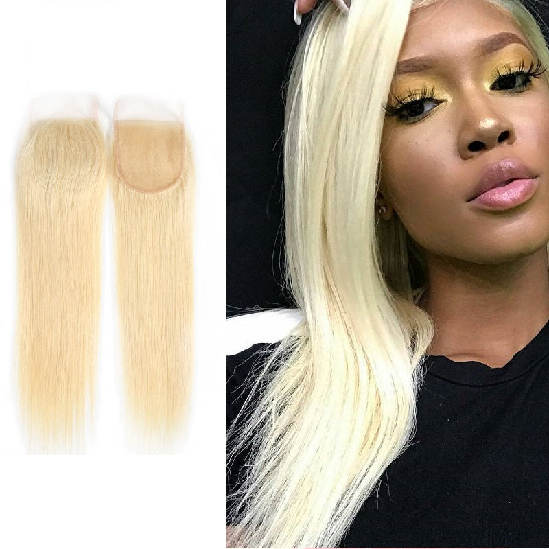 8A Virgin 613 Blonde Straight 4x4 Lace Closure With Baby Hair