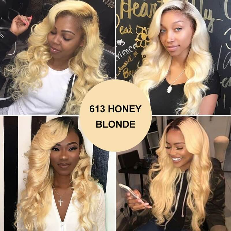 1B/613 Ombre Body Wave Lace Front Human Hair Wig Pre Plucked Bleached Knots With Baby Hair
