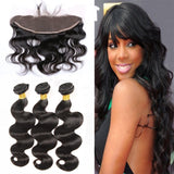 [Abyhair 10A] Malaysian Body Wave 3 Bundles With 13x 4 Lace Frontal Closure With Baby Hair