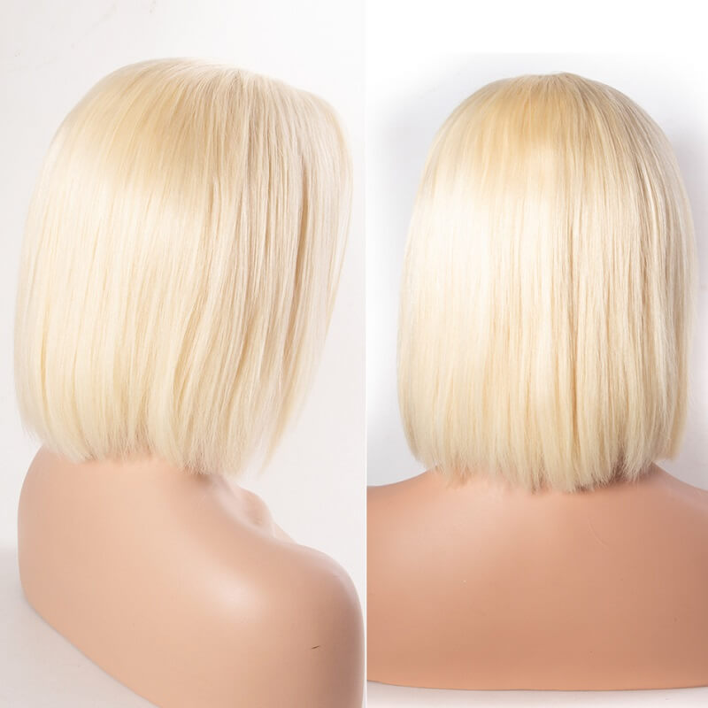 13X6 613 Lace Front Wig Transparent Short Bob Straight Blonde Deep Part Human Hair Wigs