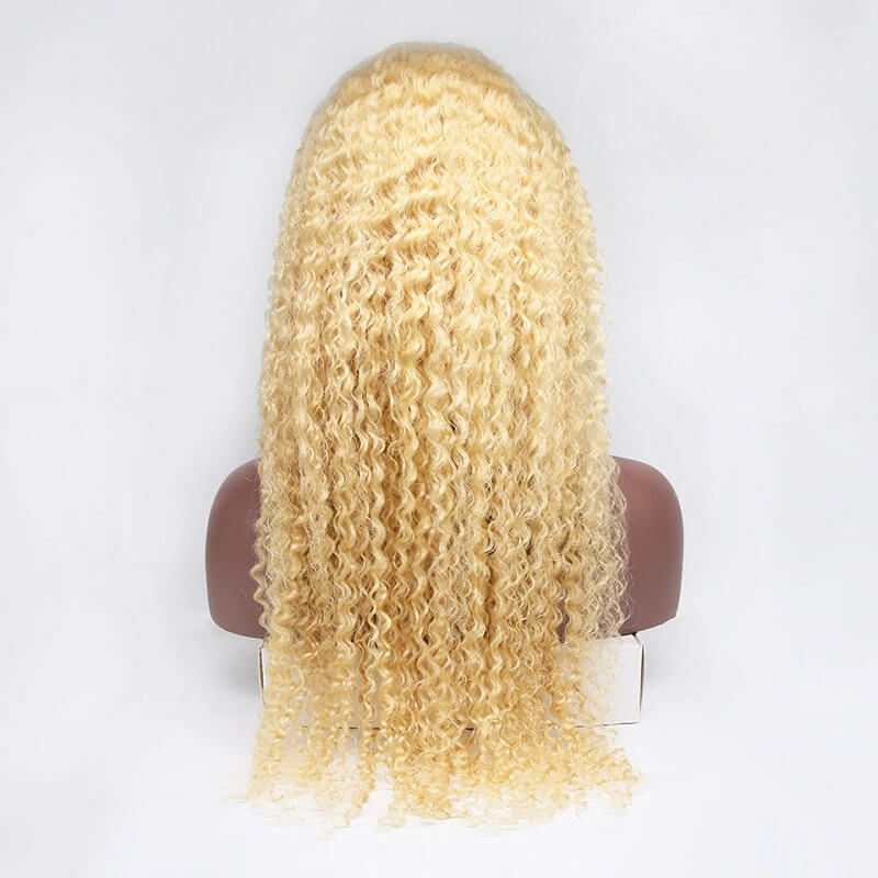 13x6 Curly 613 Blonde HD Transparent Lace Front Human Hair Wigs