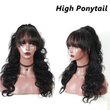 13x6 Lace Front Wigs With Bangs Body Wave Pre Plucked Human Hair Wigs