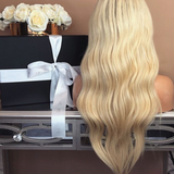 180% Density Long Wavy Blonde Wig Glueless Synthetic Lace Front Wig For Women
