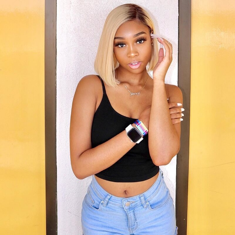 1B/613 Ombre Short Bob Straight Human Hair Lace Front Wigs With Dark Roots
