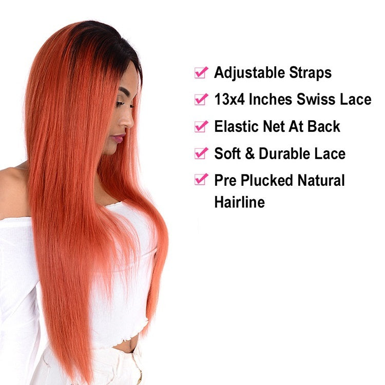 [Custom Unit] 1B/350 Orange Straight Lace Front Human Hair Wig Pre Plucked With Baby Hair Middle Part