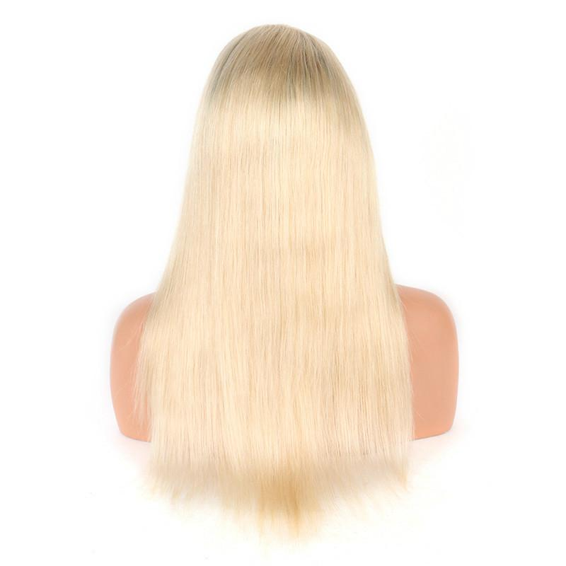 1B/613 Ombre Brazilian Straight Full Lace Human Hair Wigs Pre Plucked With Baby Hair