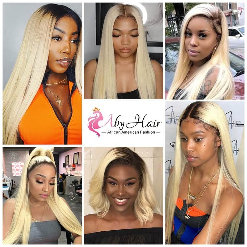 1B/613 Ombre Straight Lace Front Human Hair Wig Pre Plucked With Baby Hair Middle Part
