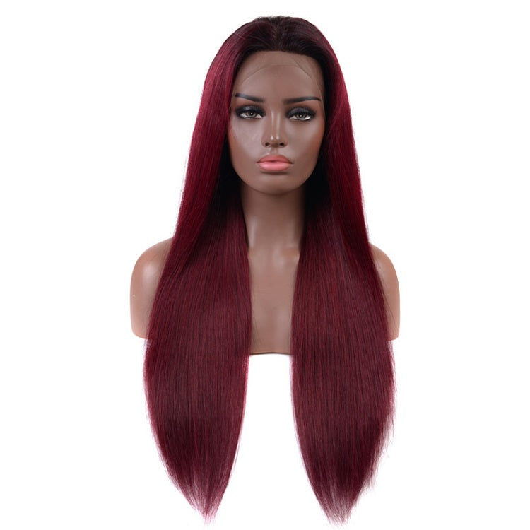 [Custom Unit] 1B/99J Ombre Straight Lace Front Wig Pre Plucked With Baby Hair Middle Part