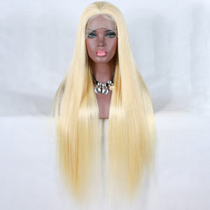 [Custom Unit] 28 30 inch Transparent 613 Honey Blonde Long Silky Straight Human Hair Lace Front Wigs