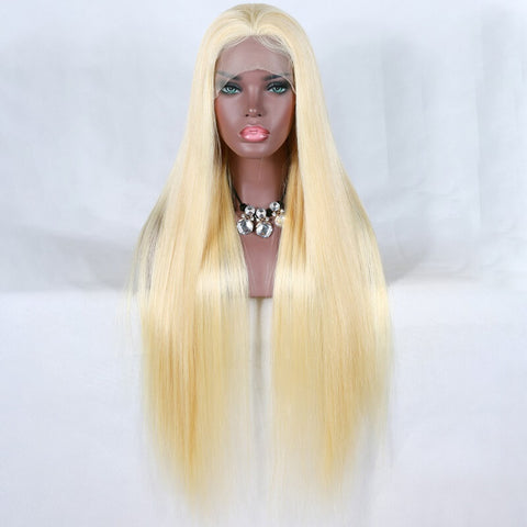 [Custom Unit] 26 28 30 inch Transparent 613 Honey Blonde Long Silky Straight Human Hair Lace Front Wigs