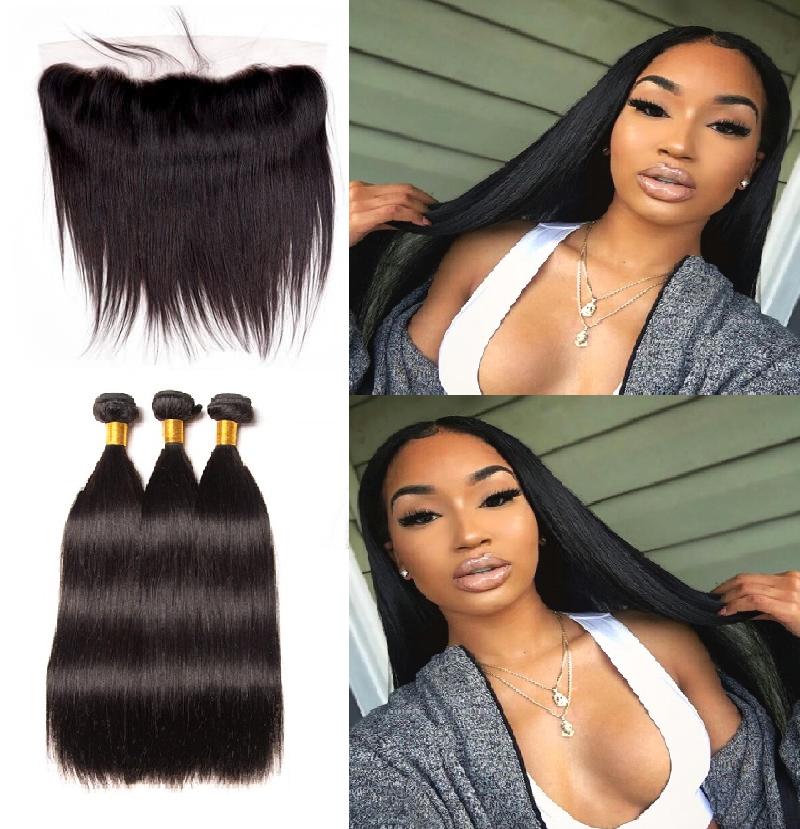 [Abyhair 9A] Straight Hair 13x 4 Lace Frontal Closure With 3 Bundles Peruvian Human Hair
