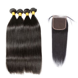 [Abyhair 8A] Malaysian 4 Bundles With 4x4 Lace Closure Straight Remy Human Hair