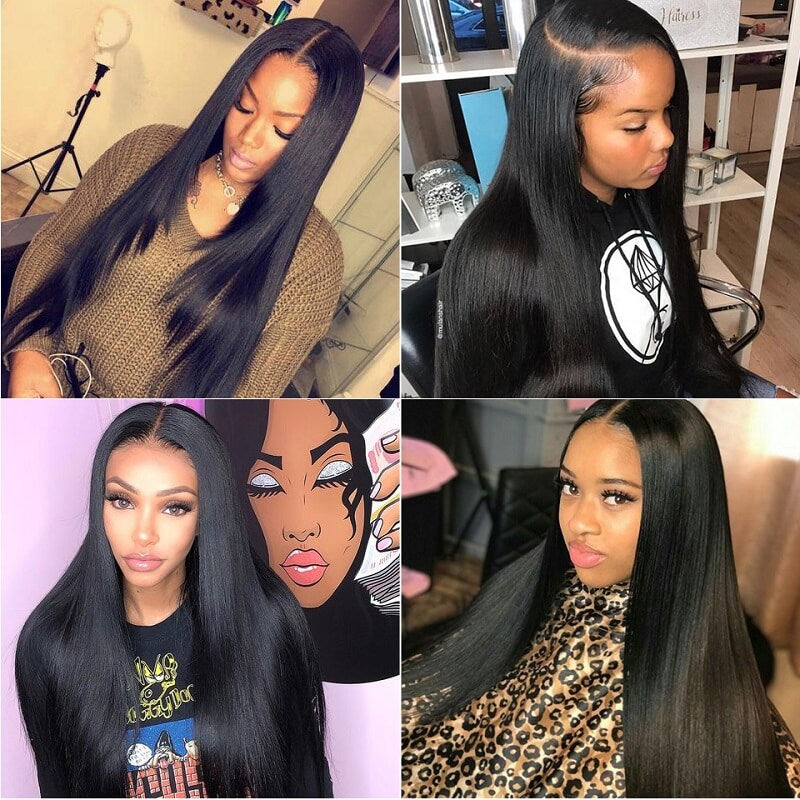 [Custom Unit] Brazilian 4x4 Silky Straight Lace Closure Wig HD Transparent Human Hair Wigs