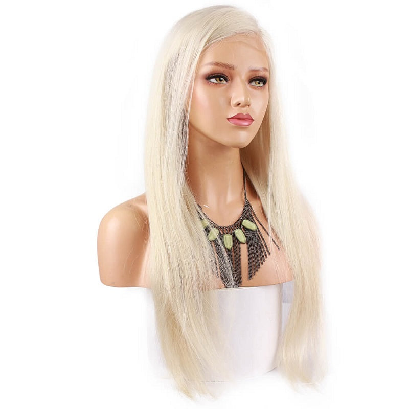 [Custom Unit] Russian Platinum Blonde Human Hair Silky Straight Full Lace Wig Pre Plucked With Baby Hair