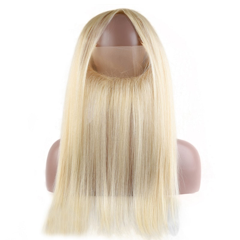10a 613 Blonde Brazilian Straight 360 Lace Frontal With 2 Bundles