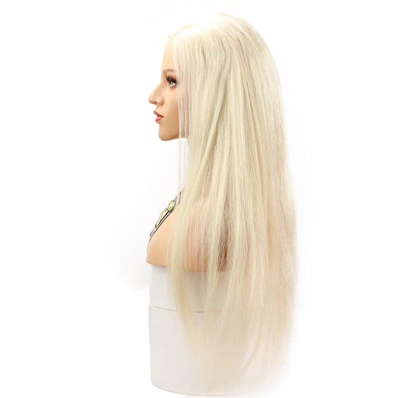 [Custom Unit] Russian Platinum Blonde Straight Lace Front Human Hair Wigs Pre Plucked With Baby Hair