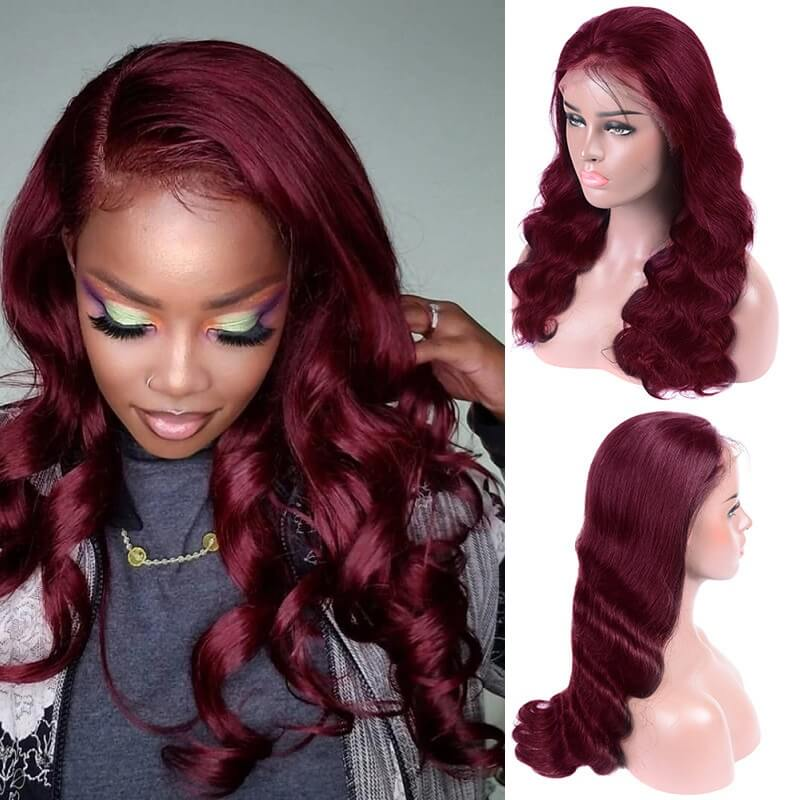 Body Wave 99J Burgundy Colored 13x4 Lace Front Human Hair Wigs Pre Plucked With Baby Hair[Custom Unit]