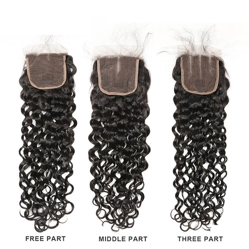 [Abyhair 9A] Water Wave Hair Closure 4x4 Middle Three Free Part Closure 130% Density