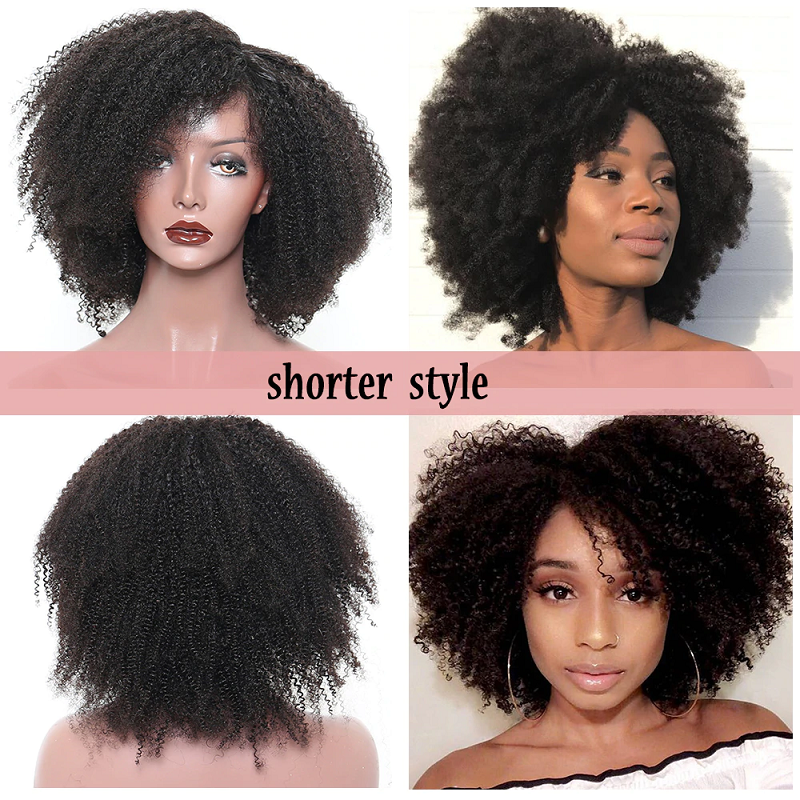 13x6 Afro Kinky Curly Short Bob Lace Front Human Hair Wig Pre Plucked With Baby Hair For Women