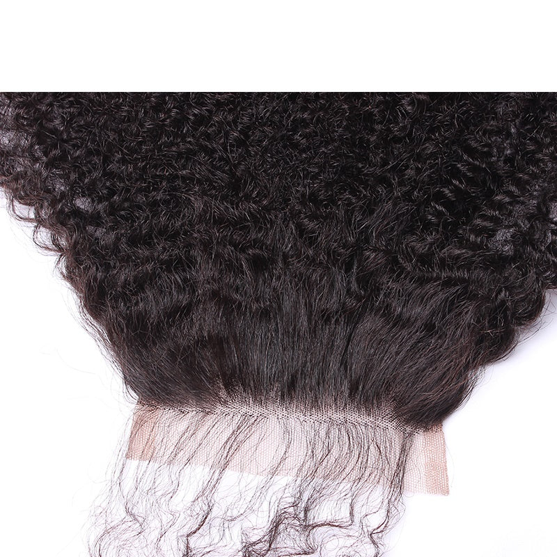 10A Virgin 4*4 Lace Closure Afro Kinky Curly Natural Black Pre Plucked With Baby Hair