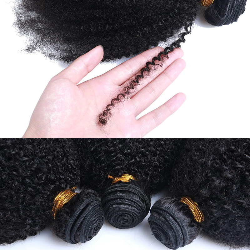 [Abyhair 10A]  Brazilian Afro Kinky Curly Hair 3 Bundles 100% Human Hair Weave Extensions