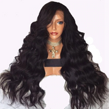 Body Wave Long Black Wig Synthetic Lace Front Wig With Baby Hair