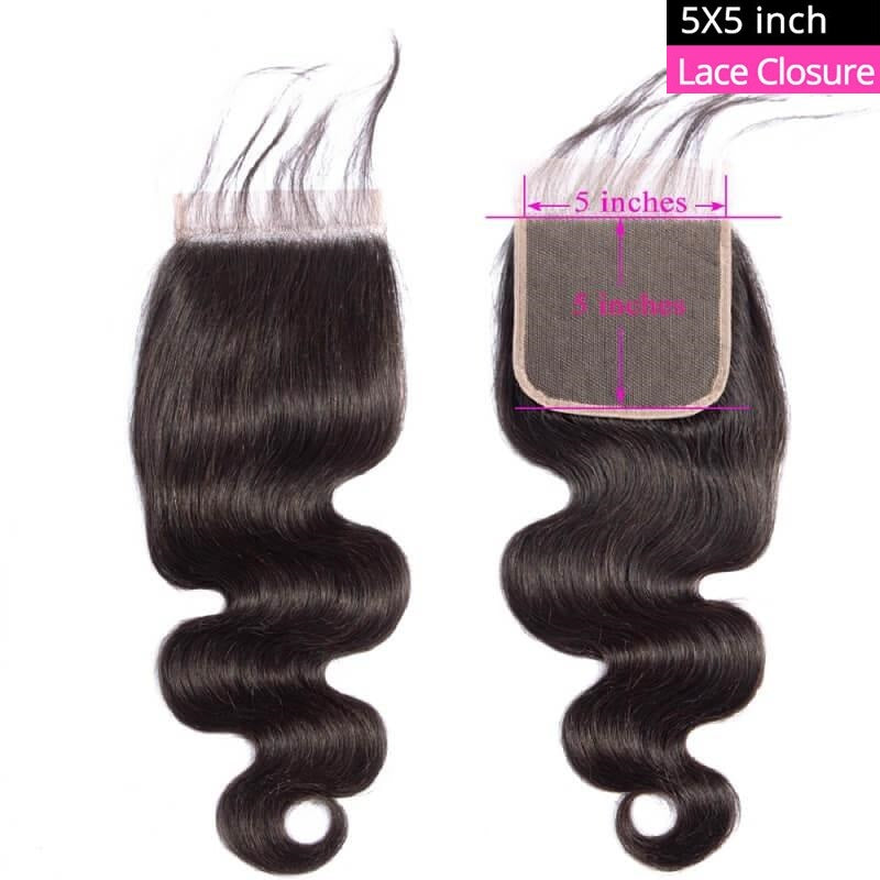 [Abyhair 10A] Body Wave 5x5 Lace Closure Human Hair Swiss Lace Closure Pre Plucked With Baby Hair