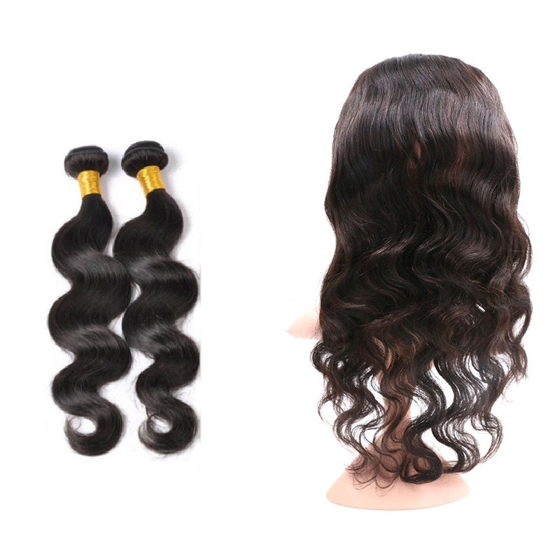 [Abyhair 10A] Malaysian Body Wave 2 Bundles With 360 lace Frontal Closure Virgin Human Hair