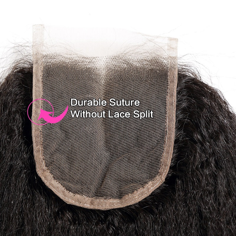 "8A Virgin Kinky Straight 4""x4 "" Lace Closure Free Part Closure With Baby Hair"
