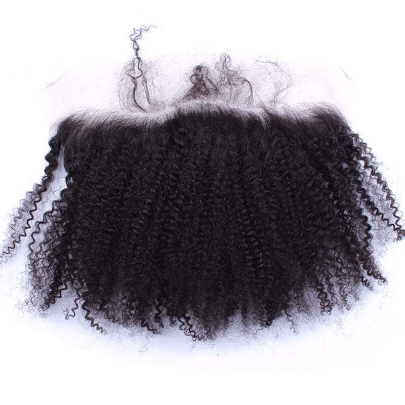 [Abyhair 10A] Brazilian Afro Kinky Curly 3 Bundles With 13x 4 Lace Frontal Closure With Baby Hair
