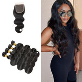 [Abyhair 9A] Body Wave Hair 4 Bundles With 4x4 Lace Closure Indian Human Hair