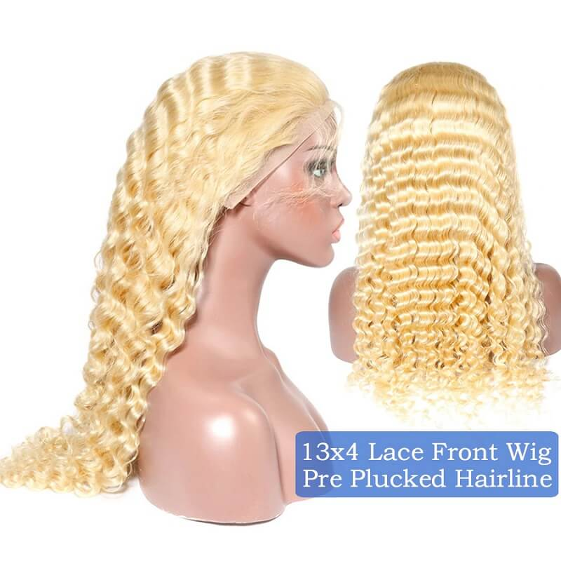 Transparent 613 Curly Honey Blonde Lace Front Wigs Brazilian Human Hair Pre-plucked with Baby Hair