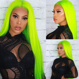 [Custom Unit] Highlight Neon Green Long Silky Straight 360 Full Lace Front Human Remy Hair Wig