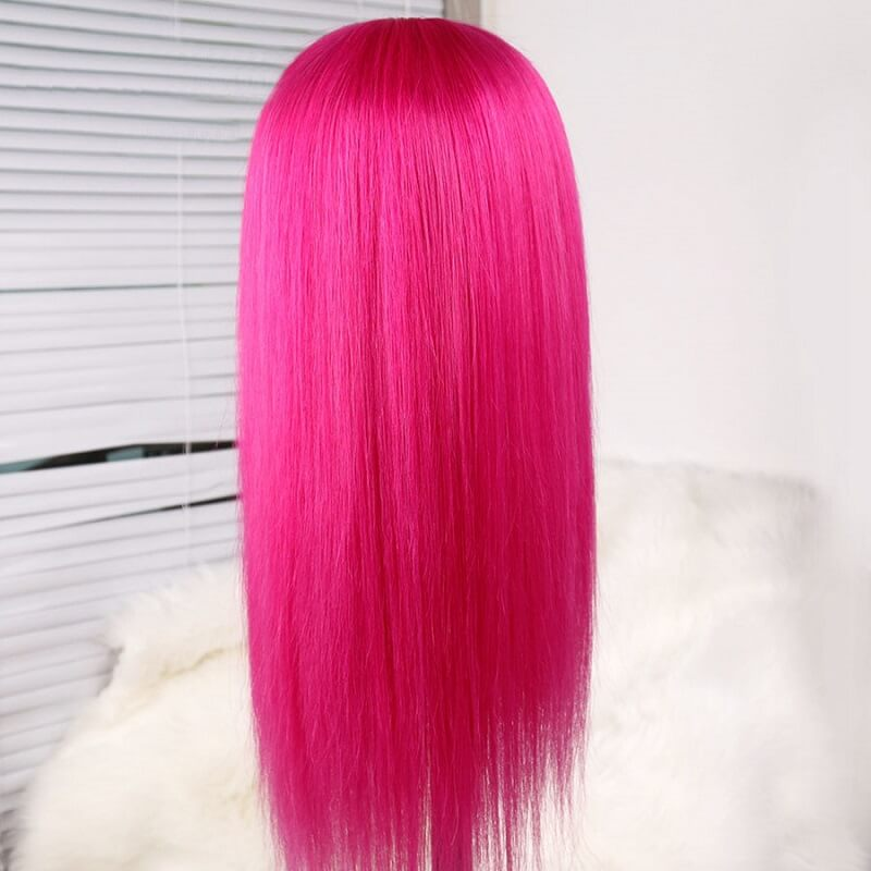 [Custom Unit] Hot Pink Long Silky Straight 360 Full Lace Front Human Remy Hair Wig