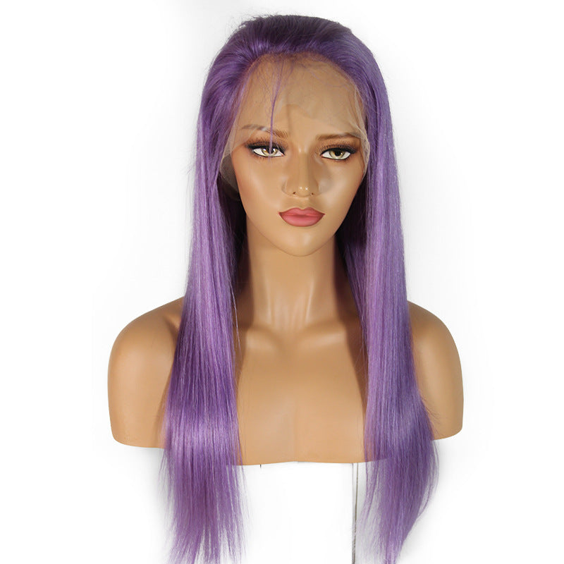 [Custom Unit] Light Purple Straight Human Hair Glueless Full Lace Wigs With Baby Hair