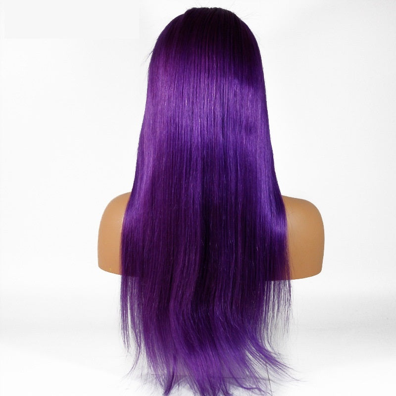 [Custom Unit] Purple Straight Human Hair Glueless Full Lace Wigs With Baby Hair