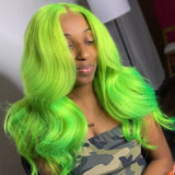 [Custom Unit] Lime Green Long Body Wave 360 Full Lace Front Human Remy Hair Wig