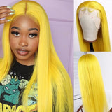 [Custom Unit] Yellow Long Silky Straight 360 Full Lace Front Human Remy Hair Wig