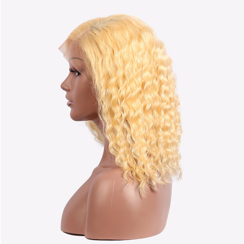 Transparent Lace 613 Blonde Wig Short Bob 13x4 Deep Wave Human Hair Wigs Pre Plucked With Baby Hair