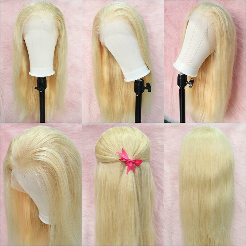 Invisible Hairline 613 Blonde Straight HD Transparent Glueless Full Lace Human Hair Wigs