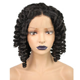 U Part Perruque Afro Short Curly Wigs Black Synthetic Lace Front Wig